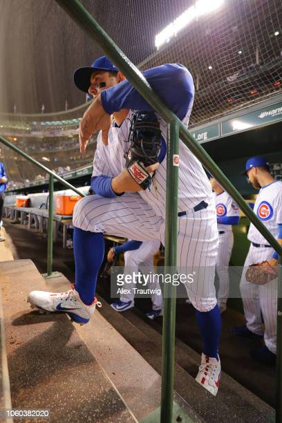 Anthony Rizzo of the Chicago Cubs looks on before the National League Wild Card game against the Colorado Rockies at Wrigley Field on Tuesday October...