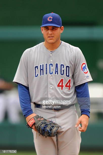 Anthony Rizzo of the Chicago Cubs looks on during a baseball game against the Washington Nationals on September 3 2012 at Nationals Park in...