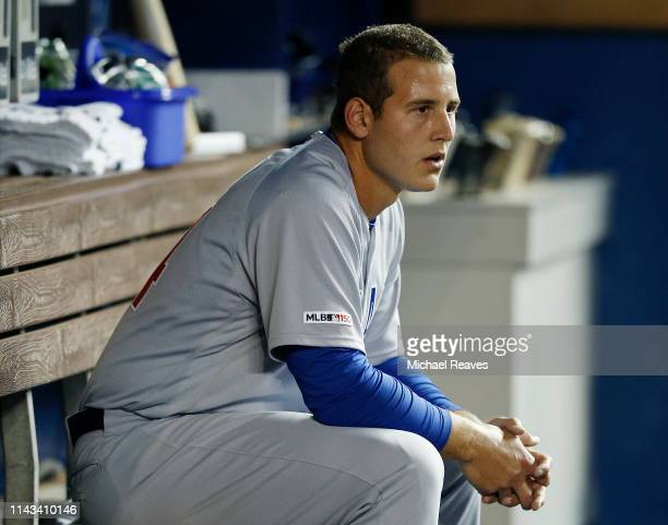 Anthony Rizzo of the Chicago Cubs looks on from the dugout against the Miami Marlins at Marlins Park on April 16 2019 in Miami Florida