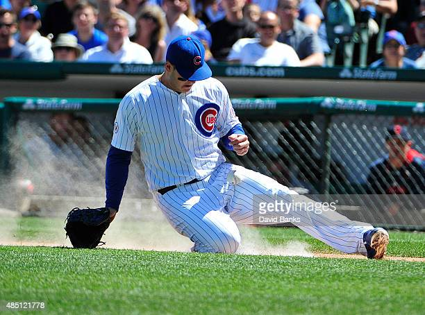 Anthony Rizzo of the Chicago Cubs makes a play on a bunt by Corey Kluber of the Cleveland Indians during the third inning on August 24 2015 at...