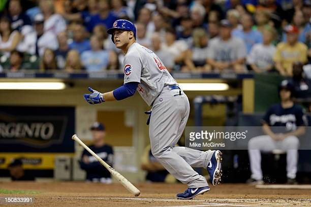 Anthony Rizzo of the Chicago Cubs makes some contact at the plate during the game against the Milwaukee Brewers at Miller Park on August 20 2012 in...