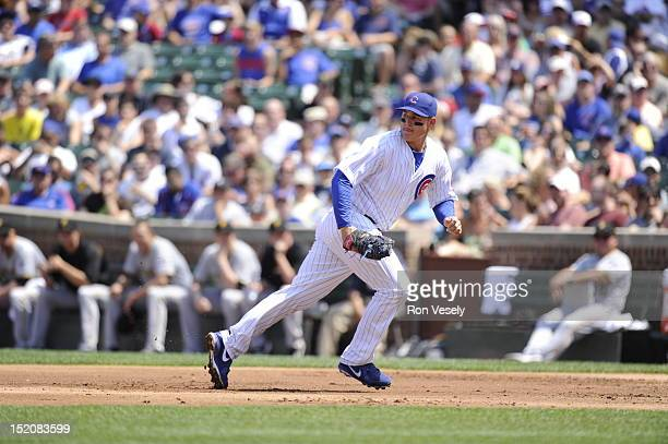 Anthony Rizzo of the Chicago Cubs plays defense at first base during the game against the Pittsburgh Pirates on August 1 2012 at Wrigley Field in...