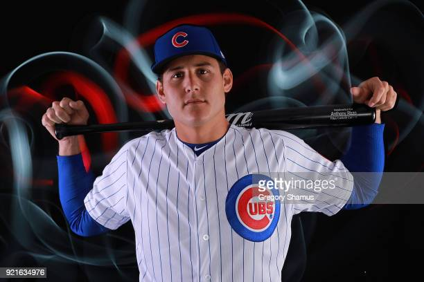 Anthony Rizzo of the Chicago Cubs poses during Chicago Cubs Photo Day on February 20 2018 in Mesa Arizona