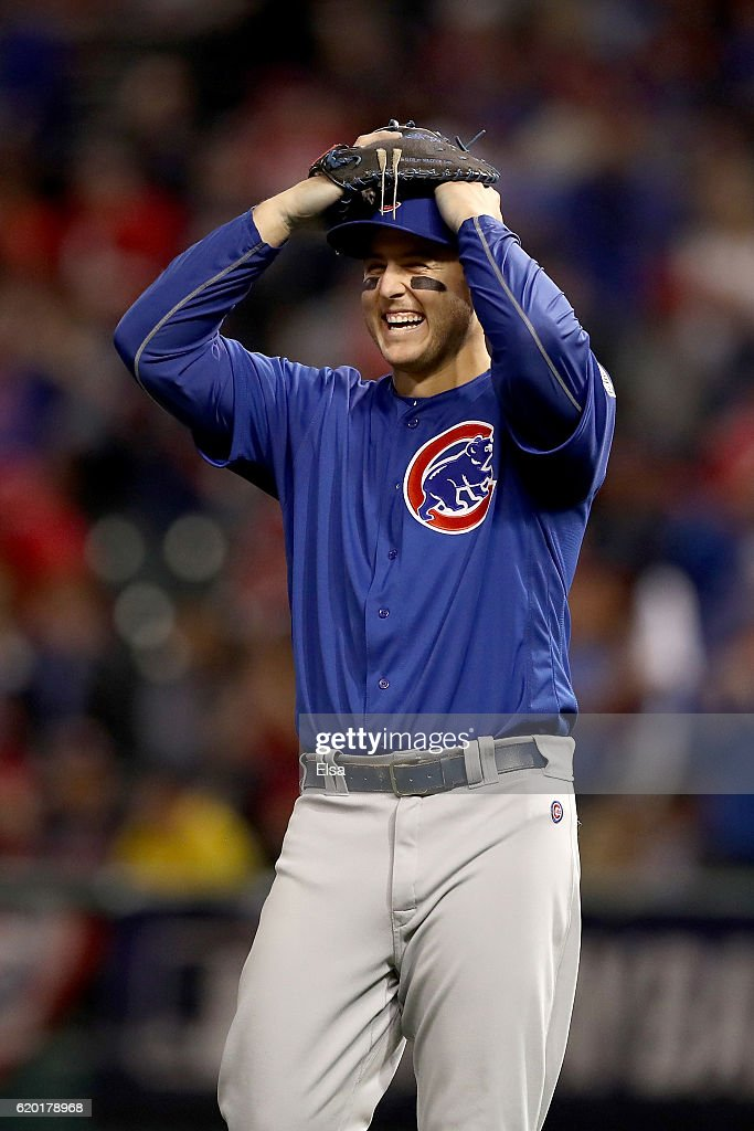 Anthony Rizzo #44 of the Chicago Cubs reacts after defeating the Cleveland Indians 9-3 to win Game Six of the 2016 World Series at Progressive Field on November 1, 2016 in Cleveland, Ohio.