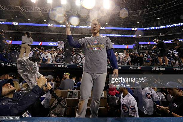 Anthony Rizzo of the Chicago Cubs reacts after defeating the Cleveland Indians 87 in Game Seven of the 2016 World Series at Progressive Field on...