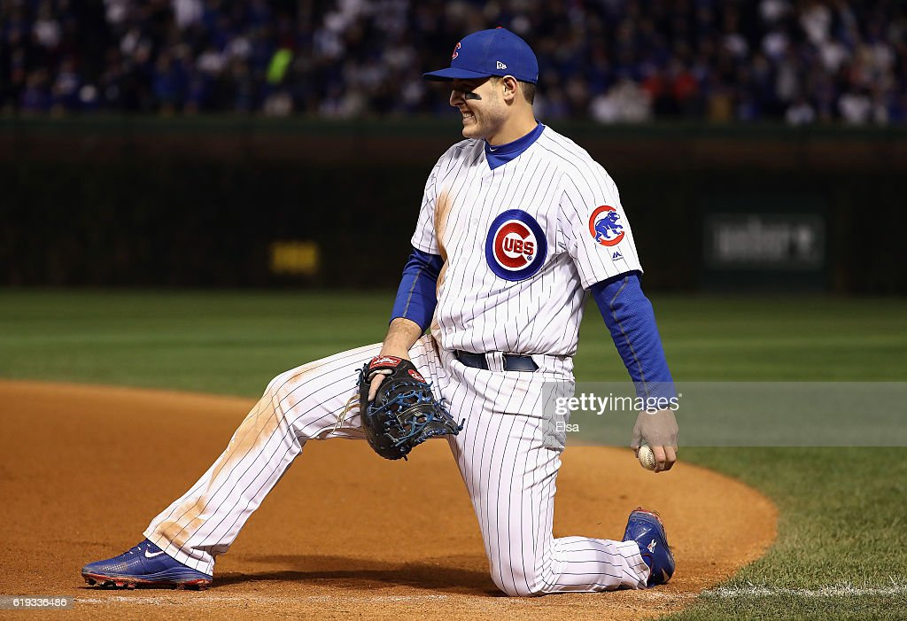 Anthony Rizzo #44 of the Chicago Cubs reacts after fielding a ground ball in the eighth inning against the Cleveland Indians in Game Five of the 2016 World Series at Wrigley Field on October 30, 2016 in Chicago, Illinois.