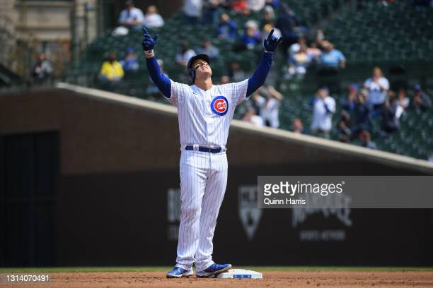 Anthony Rizzo of the Chicago Cubs reacts after his RBI double in the first inning against the Milwaukee Brewers at Wrigley Field on April 23, 2021 in...