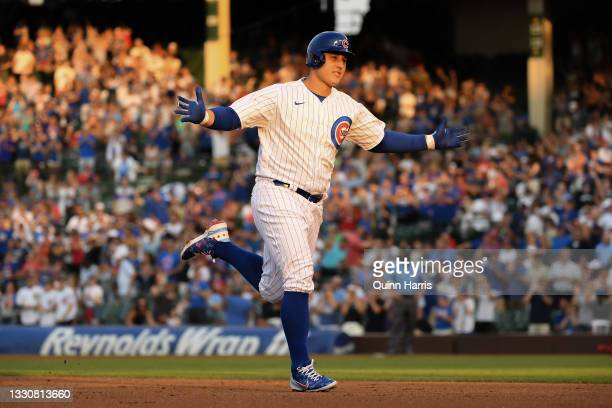Anthony Rizzo of the Chicago Cubs reacts after his two run home run in the first inning against the Cincinnati Reds at Wrigley Field on July 26, 2021...