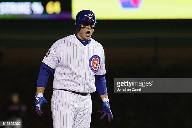 Anthony Rizzo of the Chicago Cubs reacts after hitting a double in the fourth inning against the Cleveland Indians in Game Five of the 2016 World...
