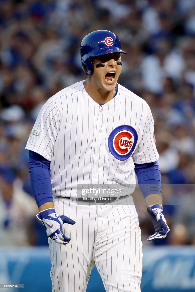Anthony Rizzo #44 of the Chicago Cubs reacts after hitting a single in the eighth inning against the Washington Nationals during game three of the National League Division Series at Wrigley Field on October 9, 2017 in Chicago, Illinois.