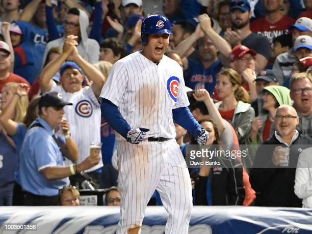 Anthony Rizzo of the Chicago Cubs reacts after hitting an RBI single against the St Louis Cardinals during the sixth inning during game two of a...