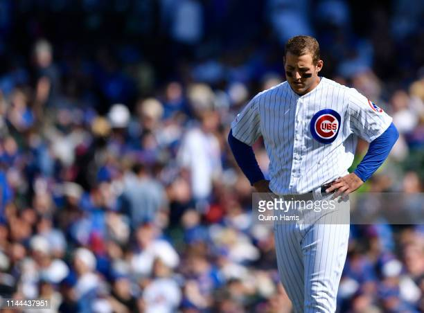 Anthony Rizzo of the Chicago Cubs reacts against the Arizona Diamondbacks at Wrigley Field on April 21 2019 in Chicago Illinois