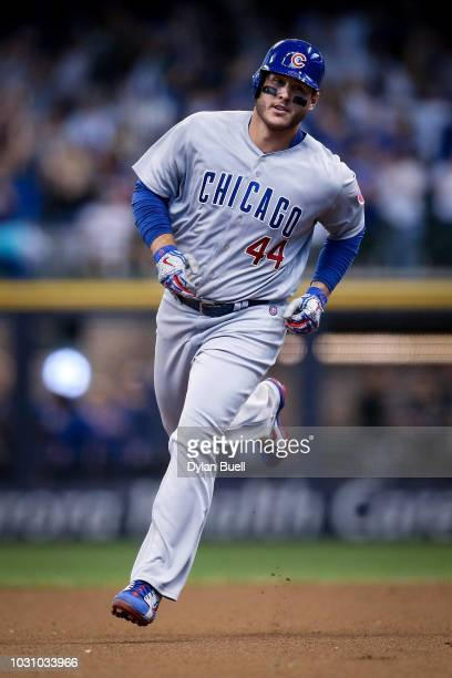Anthony Rizzo of the Chicago Cubs rounds the bases after hitting a home run in the eighth inning against the Milwaukee Brewers at Miller Park on...