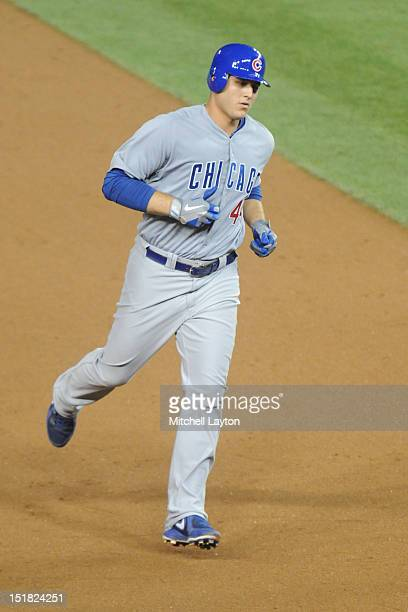 Anthony Rizzo of the Chicago Cubs rounds the bases after hitting a home run during a baseball game against the Washington Nationals on September 5...