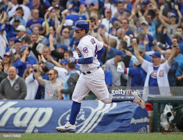 Anthony Rizzo of the Chicago Cubs runs bases after hitting a solo home run in the 5th inning against the Milwaukee Brewer during the National League...