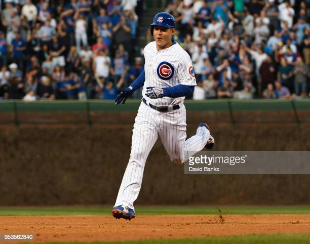 Anthony Rizzo of the Chicago Cubs runs the bases after hitting a home run against the Colorado Rockies on May 1 2018 at Wrigley Field in Chicago...