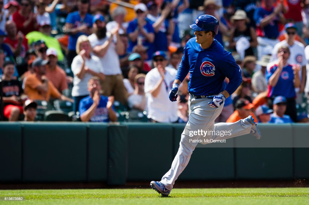 Anthony Rizzo #44 of the Chicago Cubs runs the bases after hitting a two-run home run in the ninth inning against the Baltimore Orioles during a game at Oriole Park at Camden Yards on July 16, 2017 in Baltimore, Maryland.