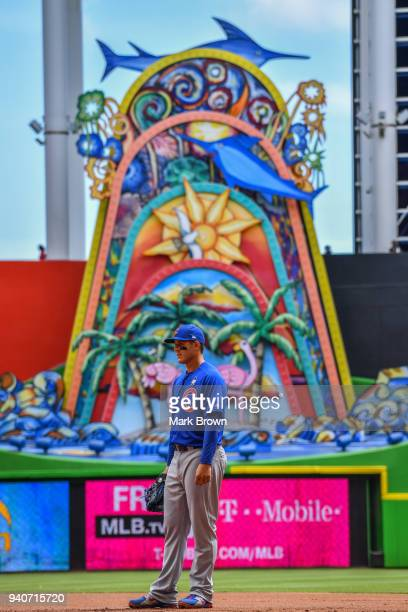 Anthony Rizzo of the Chicago Cubs stands at first base in the second inning against the Miami Marlins at Marlins Park on April 1 2018 in Miami Florida