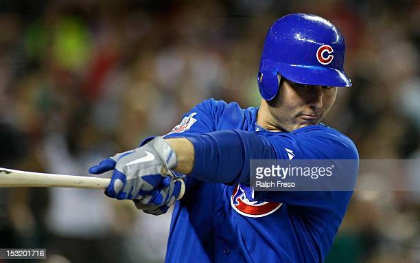 Anthony Rizzo of the Chicago Cubs takes a practice swing as he prepares to bat during a MLB game against the Arizona Diamondbacks at Chase Field on...