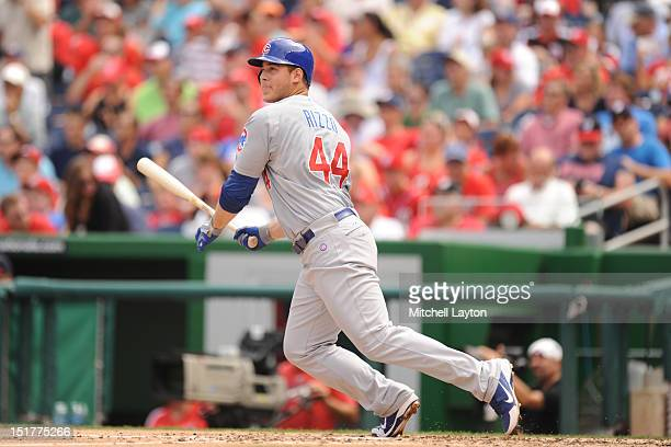 Anthony Rizzo of the Chicago Cubs takes a swing during a baseball game against the Washington Nationals on September 3 2012 at Nationals Park in...