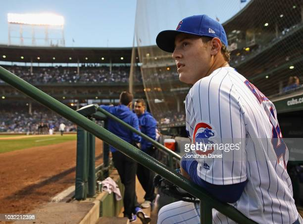 Anthony Rizzo of the Chicago Cubs waits to enter the field of play before a game against the Milwaukee Brewers at Wrigley Field on September 11 2018...
