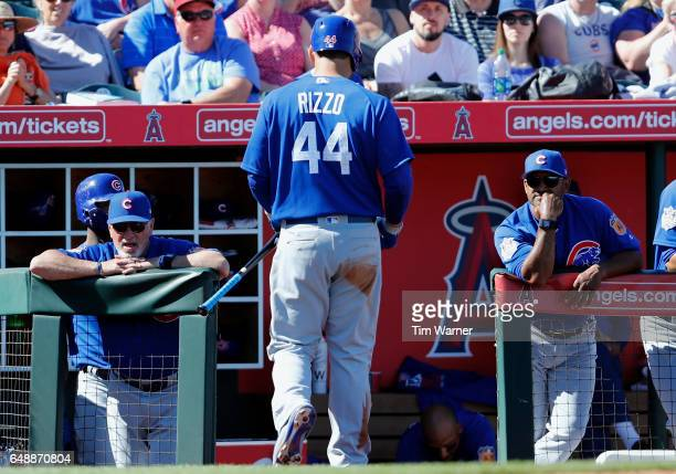 Anthony Rizzo of the Chicago Cubs walks to the dugout after striking out in the fourth inning against the Los Angeles Angels during the spring...