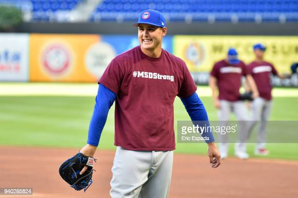 Anthony Rizzo of the Chicago Cubs wears a #MSDStrong tshirt during batting practice before the game against the Miami Marlins at Marlins Park on...