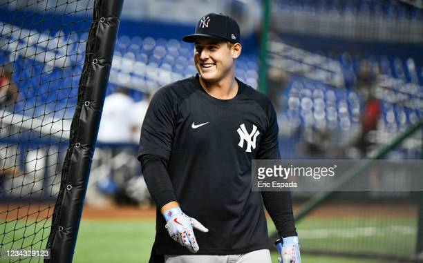 Anthony Rizzo of the New York Yankees during batting practice before the start of the game against the Miami Marlins at loanDepot park on July 30,...