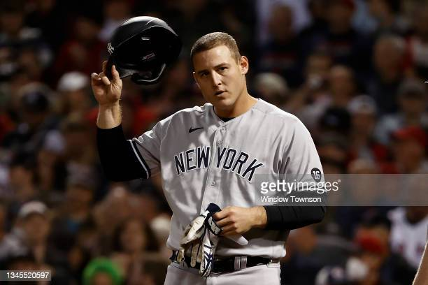 Anthony Rizzo of the New York Yankees during the AL Wild Card playoff game against the Boston Red Sox at Fenway Park on October 6, 2021 in Boston,...