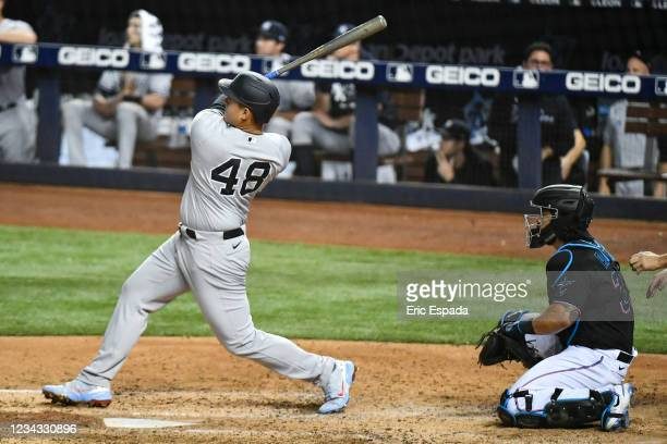 Anthony Rizzo of the New York Yankees hits a home run in the sixth inning against the Miami Marlins at loanDepot park on July 30, 2021 in Miami,...