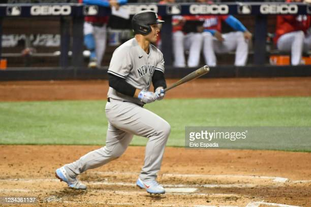 Anthony Rizzo of the New York Yankees singles in the fifth inning against the Miami Marlins at loanDepot park on July 31, 2021 in Miami, Florida.