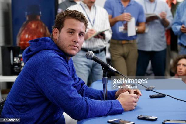 Anthony Rizzo speaks with members of the press on Monday Feb 19 in Mesa Ariz on the first day of full squad spring training practice after returning...