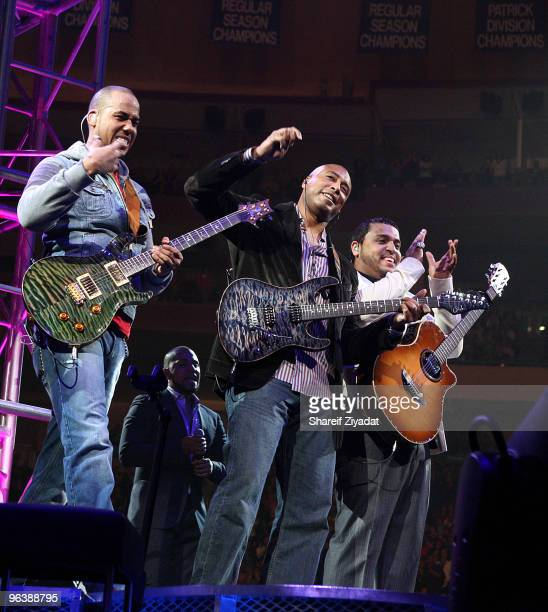 Anthony 'Romeo' Santos Bernie Williams and Max Santos perform at Madison Square Garden on February 2 2010 in New York City