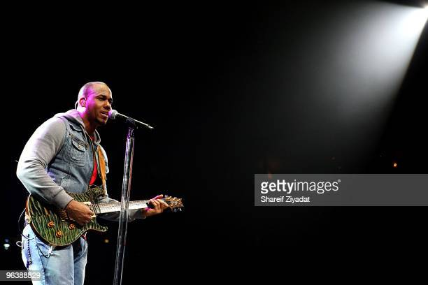 Anthony Romeo Santos from Aventura performs at Madison Square Garden on February 2 2010 in New York City