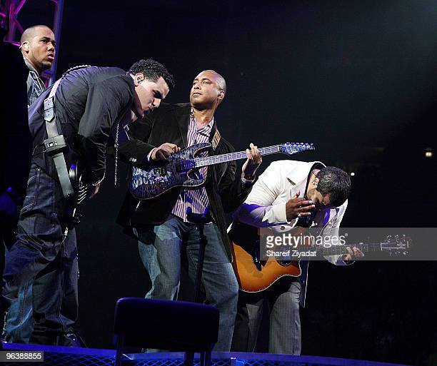 Anthony 'Romeo' Santos Lenny Santos Bernie Williams and Max Santos perform at Madison Square Garden on February 2 2010 in New York City
