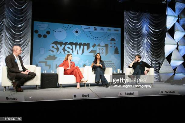 Anthony Romero Amber Heard Padma Lakshmi and Ike Barinholtz speak onstage at Featured Session Making Change On and Off the Screen during the 2019...