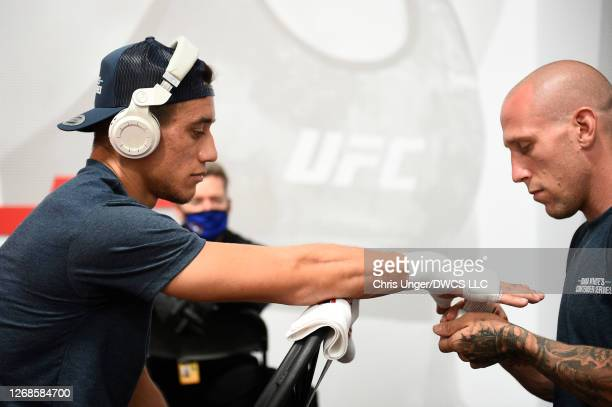 Anthony Romero has his hands wrapped prior to his fight during week four of Dana White's Contender Series season four at UFC APEX on August 25 2020...