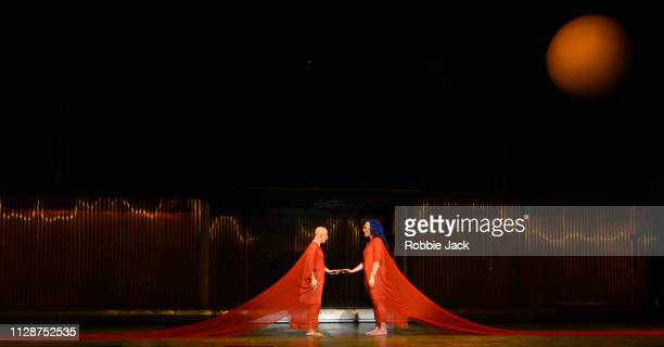 Anthony Roth Costanzo as Akhnaten and Katie Stevenson as Nefertiti in English National Opera's production of Philip Glass's Akhnaten directed by...