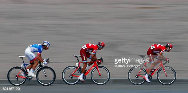 Anthony Roux of Team FDJ, Viacheslav Kuznetsov of Team Katusha and Ilnur Zakarin of Team Katusha cycle during the Grand Prix Cycliste de Quebec on...