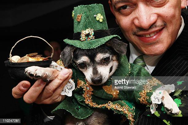 Anthony Rubio and dog Bandit Rubio attend St Pawtricks Yappy Hour benefiting the Humane Society of New York at the Muse Hotel on March 16 2011 in New...