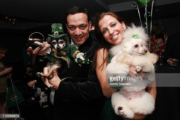 Anthony Rubio dog Bandit Rubio and Wendy Diamond attend St Pawtricks Yappy Hour benefiting the Humane Society of New York at the Muse Hotel on March...