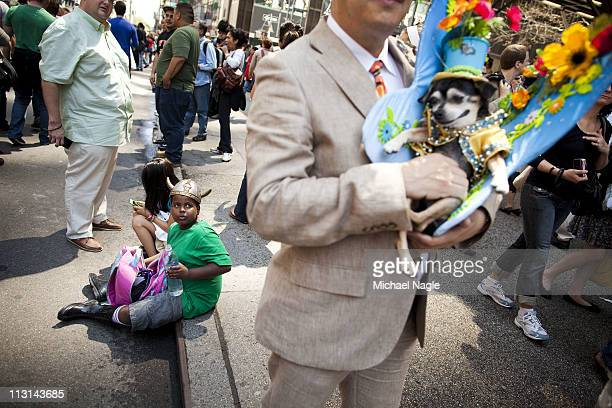 Anthony Rubio , of the Bronx, and his chihuahua Bandit take part in the 2011 Easter Parade and Easter Bonnet Festival on April 24, 2011 in New York...