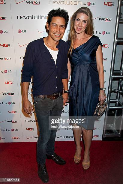 Anthony Ruivivar and Yvonne Jung attend the LG Revolution party hosted by Verizon at The Sayers Club on August 17 2011 in Hollywood California