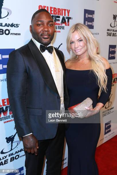Anthony Rumble Johnson and guest attends the 13th Annual Celebrity Sweat ESPYS After Party at The Palm Restaurants on July 12 2017 in Los Angeles...