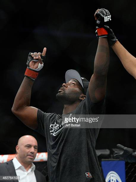 Anthony ''Rumble'' Johnson celebrates after defeating Antonio Rogerio Nogueira in their light heavyweight bout during the UFC Fight Night event at...
