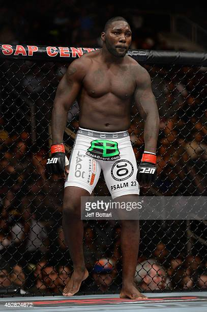 Anthony 'Rumble' Johnson stands in his corner before facing Antonio Rogerio Nogueira in their light heavyweight bout during the UFC Fight Night event...