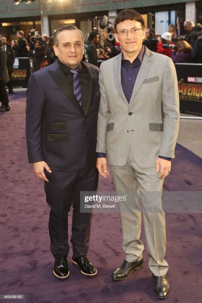 Anthony Russo (L) and Joe Russo attend the UK Fan Event for 'Avengers: Infinity War' at the Television Studios White City on April 8, 2018 in London, England.
