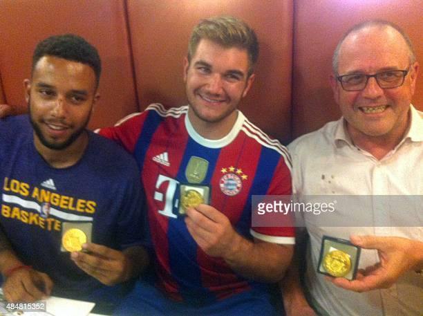 Anthony Sadler from Pittsburg California Alek Skarlatos from Roseburg Oregon and British national Chris Norman who is living in France hold their...