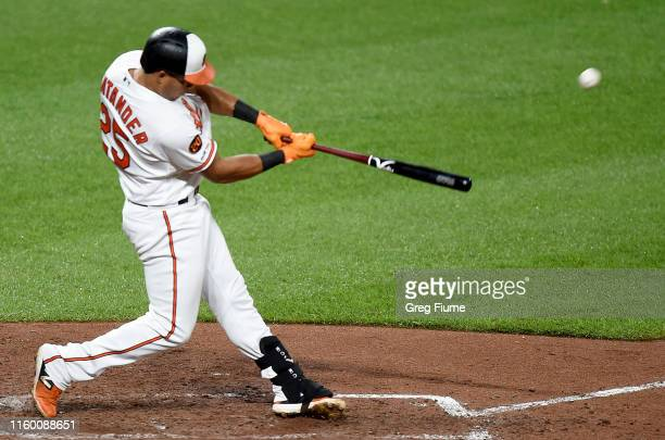 Anthony Santander of the Baltimore Orioles hits a two-run home run in the fifth inning against the New York Yankees at Oriole Park at Camden Yards on...