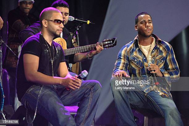 Anthony Santos of the band Aventura performs at the Pepsi Smash Super Bowl Fiesta Concert outside of Dolphin Stadium on February 2 2007 in Miami...